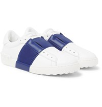 Valentino Open Striped Leather Slip On Sneakers White