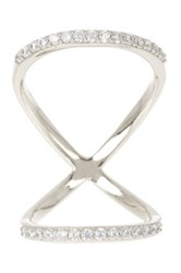 18K White Gold Plated Sterling Silver Cz Long X Ring Metallic