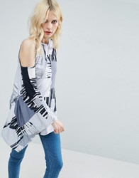 Asos Top With Cold Shoulder And Kimono Sleeve In Blurred Print Multi