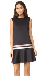 Red Valentino Striped Scuba Dress Black