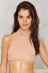 Nasty Gal Mock Water Ribbed Bikini Top