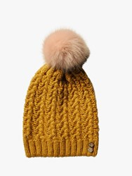 Fat Face Knitted Pom Beanie Mustard