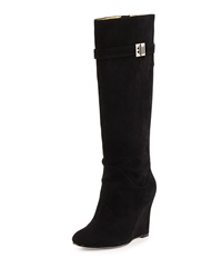 Elaine Turner Designs Jayden Suede Tall Wedge Boot Black