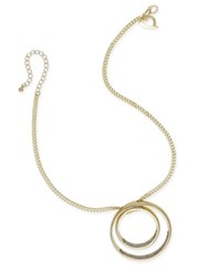Thalia Sodi Gold Tone Pave Double Circle Pendant Necklace Only At Macy's