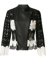 Yigal Azrouel Mod Lace And Leather Jacket Black