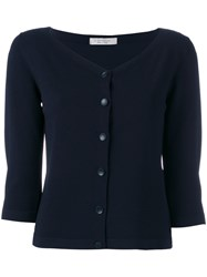 D.Exterior Fitted Cardigan Blue