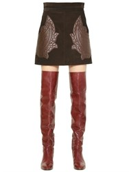 Chloe Suede Skirt W Quilted Leather Patches