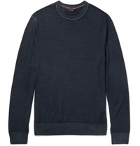 Michael Kors Slim Fit Washed Merino Wool Sweater Navy