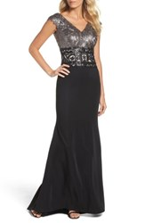 Tadashi Shoji Women's Sequin Woven Fit And Flare Gown Dark Pearl Black