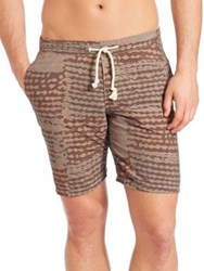 Eidos Cotton And Linen Swim Shorts Army Green Brown