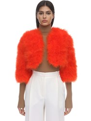 Yves Salomon Cropped Feather Jacket Red