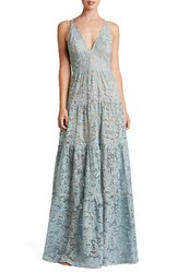 Dress The Population Women's Melina Lace Fit And Flare Maxi Mineral Blue Lace