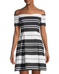 Guess Off The Shoulder Striped Canvas Dress Black Pattern