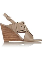 Sigerson Morrison Xia Leather Wedge Sandals Nude