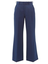 Maison Martin Margiela Cropped Twill Tailored Trousers Blue