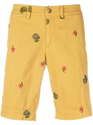 Jeckerson Embroidered Fitted Shorts Yellow And Orange