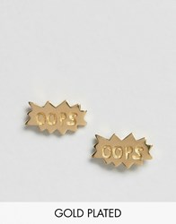 Asos Gold Plated Sterling Silver 'Oops' Stud Earrings Gold