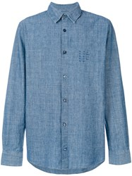 A.P.C. Lace Up Buttoned Shirt Men Cotton M Blue