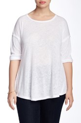 Bobeau 3 4 Length Sleeve Slub Tee Plus Size White