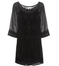 Velvet Annmarie Embroidered Dress Black