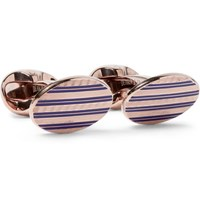 Kingsman Deakin And Francis Rose Gold Plated Sterling Silver And Enamel Cufflinks Rose Gold