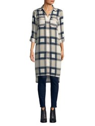 Jones New York Plaid Button Down Tunic Stone