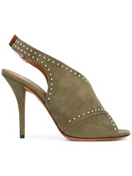 Givenchy Open Toe Sandals Women Leather Suede 39 Green