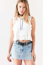 Kimchi And Blue Asteria Peplum Cropped Top Ivory