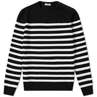 Saint Laurent Stripe Button Crew Knit Black