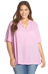 Plus Size Women's Nydj Short Sleeve Split Neck Top Orchid