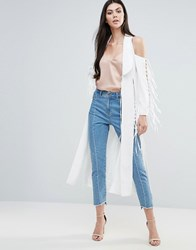 Lavish Alice Duster Coat With Fringed Detail White