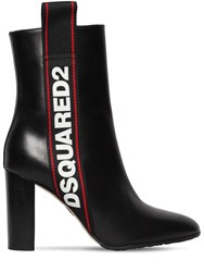 Dsquared 90Mm Evolution Tape Leather Ankle Boots Black
