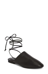 Treasure And Bond Deven Ankle Wrap Mule Black Leather