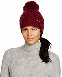 Michael Kors Waffle Stitch Hat With Pom Pom 100 Bloomingdale's Exclusive Merlot