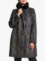 Four Seasons Fur Trimmed Leopard Print Coat Grey
