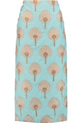 Stella Jean Embroidered Cotton Muslin Midi Skirt Sky Blue