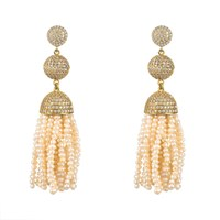 Latelita London Tassel Ball Earring Fresh Water Pearls Gold White Gold