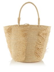 Sensi Studio Frayed Woven Straw Tote Cream