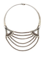 Dannijo Angus Swarovski Crystal And Silverplated Chain Collar Necklace