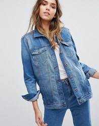 Only Longline Denim Jacket In Rigid Denim Blue