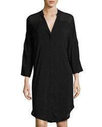Xcvi Zenia Button Front Shirtdress Black