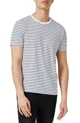 Topman Men's Stripe T Shirt Navy Multi