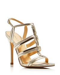 Ivanka Trump Hazen Metallic T Strap High Heel Sandals