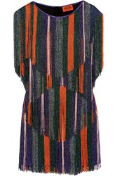 Missoni Fringed Metallic Crochet Knit Mini Dress Purple
