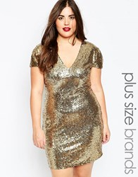 Club L Plus Size Sequin Dress With V Neck Gold