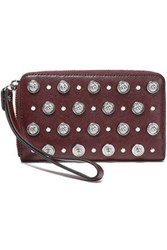 Versus By Versace Woman Studded Leather Wallet Burgundy