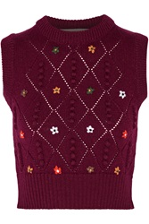 Preen Cropped Floral Embroidered Wool Sweater