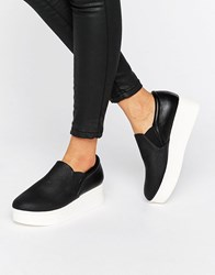 New Look Leather Flatform Slip On Trainer Black