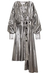 Wanda Nylon Silk Blend Lame Wrap Dress Silver