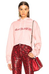 Rodarte Radarte La Embroidery Cropped Hoodie In Pink